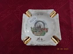 HB WIEN kézzel festett porcelán hamutál, Wiener Prater felirattal.