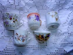 5 db Antik  porcelán  csésze  együtt -az ár az 5 db-ra vonatkozik