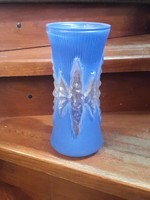 Cseh kék, üveg váza, hibátlan állapotban, ritka darab. 25 cm-es.