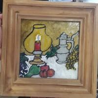 20 x 20 cm.es, üvegfestmény, érdekes darab, gyűjtőknek.