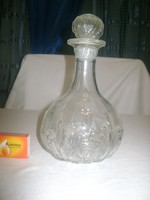 Régi likőrös, italos üveg, karaffa domború díszítéssel