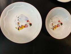 Régi porcelán gyermek tányér szett