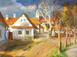 Zentai Pál (1938 - 1987) :Utcarészlet, : 60 x 80 cm a festmény,olaj-farost