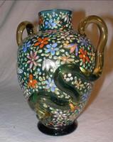 Harrach Moser zománccal gazdagon díszített kék üveg váza, késő 1800-as évek, Bohémia