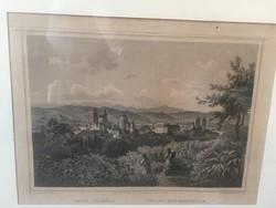 Eger látkép városkép utcakép 19.sz-ból