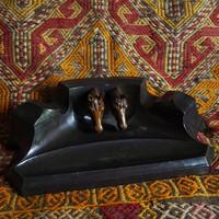 Ló szobor Fekete Tintatartó lovas paripa mén Lovarda Íróasztal Tolltartó Doboz Tároló Bronz Spiáter