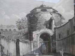 Antik római városkép 19. századi metszeten