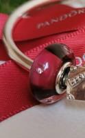 Eredeti Pandora Cseresznye színű szív muránói üveg charm