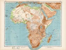 Afrika hegy- és vízrajzi térkép 1912, német nyelvű, atlasz, 43 x 57 cm, Moritz Perles, Szahara