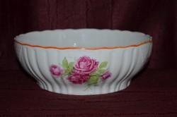 Zsolnay rózsás pogácsás tál narancs lüszteres dekorral  ( DBZ 0062 )
