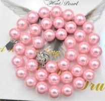 Rózsaszín shell pearl gyöngy nyaklánc, 10 mm-s gyöngyökből