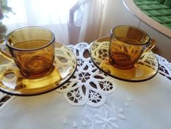 Két darabos borostyán színű jénai kávés keveset használt állapotban. VERECO FRANCE jelzéssel