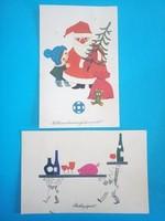 Karácsonyi / Újévi postatiszta, bélyeges képeslapok