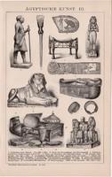 Egyiptomi művészet III., egyszínű nyomat 1892, német nyelvű, eredeti, Afrika, Egyiptom, Szfinx
