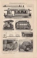 Villamos I., II., egyszínű nyomat 1894, német nyelvű, eredeti, utca, vagon, elektromos, gáz, motor