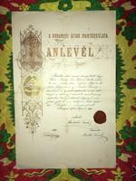 Ács Oklevél/A budapesti ácsok ipar társulata. Tanlevél. 1876. május 30. Budapest