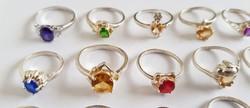 Gyönyörű 925 ezüst női köves gyűrű kollekció 20db