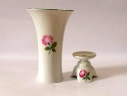 Augarten Wien bécsi rózsás váza és gyertyatartó /Augarten Vienna Porcelain Vase and Candleholder