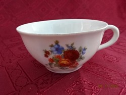 Drasche porcelán, teáscsésze virágmintával, felső átmérője 10 cm.