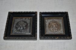 Jézus és Mária dombor nyomott bronzkép  ( DBZ 0062 )