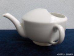Régi, jelzett porcelán kiöntő, beteg itató