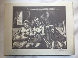 Vadász Endre (1901 - 1944): Szent család (Daumier után), fametszet, jelezve