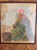 Asszony kosárral - különleges lengyel grafika az 1960-70-es évekből