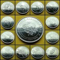 2004-2020 50 forint verdefényes emlék érme sor kapszulában rollniból