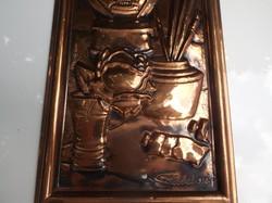 Fém - VÖRÖSRÉZ - NAGYJELZETT - KÉP -  festő csendélet - kézimunka - 37 x 16 cm - gyönyörű - hibátlan