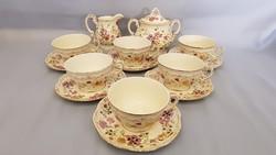 Zsolnay kézi festésű pillangós teás készlet kanna nélkül