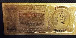 24 kt arany egy millió korona bankjegy