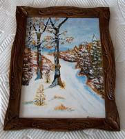 Olajfestmény, havas táj, jelzett, igen szép faragott fa keretben.