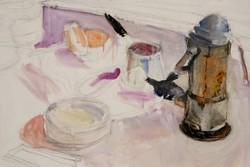Ligeti Miklós: Csendélet kávéfőzővel - keretezett festmény