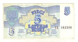 5 rubel rubli 1992 Lettország 3.
