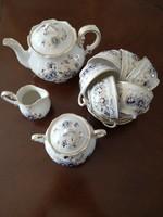 Gyönyörű, kézzel festett Zsolnay búzavirágos 6 személyes teáskészlet, teljesen új!!!