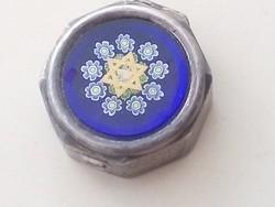 Ezüst dobozka, teteje Muranoi üveggel Dávid csillaggal 925