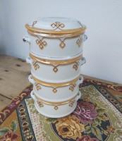 Ritka Gyönyörű antik  Elbogen 4 részes+tetős  ételhordó, ételes, nosztalgia,Gyűjtői darab, régiség