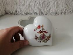 Hollóházi szív alakú porcelán bonbonier/ szelence