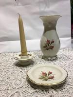 Rosenthal rózsa mintás gyertyatartó, váza, tál/hamutartó egy készlet