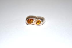 Ezüst gyűrű borostyán kövekkel