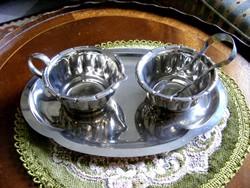 Tükörfényes, vintage, pazar, kávés - teás, négy darabos, kiegészítő szervírozó készlet