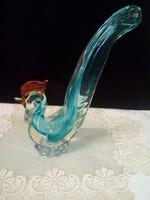 Színezett művészi üveg kakas figura,dísztárgy