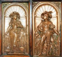 Gustav Grohe (1829-1906)-Bronz falikép párban eredeti autentikus fa keretében