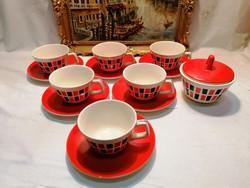 Régi piros-fekete mintás Gránit teáscsésze készlet és cukortartó, retro
