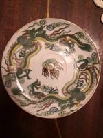Keleti porcelán, sárkányos kistányér / csésze alj