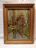 Egyed Imre 1976 Vízimalom ház festmény