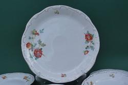Zsolnay rózsa mintás ízléses porcelán süteményes készlet tortatál süteményes tányér 6 személyes