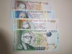 Mauritius 25-50-100-200 rupia 2006-12 UNC