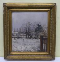 Antik festmény: Téli táj, olaj-vászon, 34*29cm