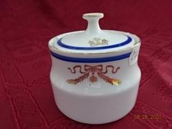 Bohemia Csehszlovák porcelán cukortartó, kék csíkkal, arany mintával.